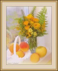 Still life - flowers and fruit (edenseekr) Tags: stilllifecomposition flowerarrangement peaches ferns windowsill yellow calendula photopainting