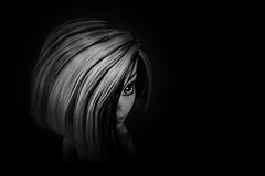 Vulnerable in the night (Allan Saw) Tags: frankiestein monsterhigh blackandwhite doll toy girl head closeup moody black dark highcontrast portrait
