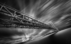 Falling Down (YOSHIHIKO WADA) Tags: blackandwhite fineart longexposure hyperlongexposure bridge architecture japan koube sky seascape