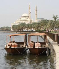 Al Noor Mosque (Wild Chroma) Tags: al noor mosque alnoormosque sharjah lake boats uae palms