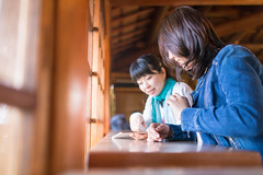 Two female friends watching screen on digital tablet together (Apricot Cafe) Tags: img28623 1819years 3034years asia asianandindianethnicities cafe japan japaneseethnicity kyotojapan sigma35mmf14dghsmart bright casualclothing charming cheerful day digitaltablet enjoyment freedom friends happiness horizontal indoors lifestyles onlywomen photography relaxation restaurant smiling springtime sunlight teenager togetherness twopeople waistup watching weekendactivities window women youngadult