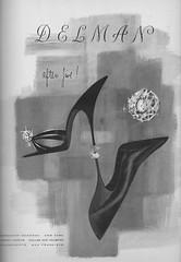 Delman 1956 (barbiescanner) Tags: vintage retro fashion vintagefashion 50s 50fashion vintagevogue vogue vintageads delman shoes vintagefashionillustration