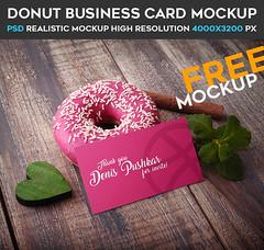 Donut Business Card – Free PSD Mockup (Mockupfree.co) Tags: business card cinnamon donut free heart mint mockup sweetness thank you wood