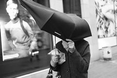 Umbrella action (Bjarne Erick) Tags: umbrella rain rainy wind windy broken street fuji xt2 35mm acros blackwhite blackandwhite bw noirblanc