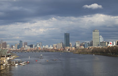 Skyline and Clouds (imartin92) Tags: boston cambridge massachusetts charlesriver bostonuniversity harvard bridge river skyline hancock prudential tower