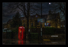 The Telephone Box (Kevin, Mr Manchester) Tags: architecture britishculture building canon1100d canon1855mm clitheroe clitheroecastle clouds england hdr historical lancashire northwest photoborder ribblevalley street town redtelephonebox telephone phonebox rain moon