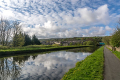 DSC- 0020 - Half a Mile of Spring (SWJuk) Tags: swjuk uk unitedkingdom gb britain england lancashire burnley home canal leedsliverpoolcanal straightmile bluesky clouds reflections water still calm towpath path footpath trees landscape waterscape 2017 apr2017 spring outdoor weather fine sunlight nikon d7100 nikond7100 1024mm rawnef lightroom