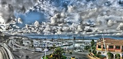 Puerto deportivo de Ceuta. Panorámica con HDR forzado. (anyera2015) Tags: ceuta canon canon70d atardecer nubes siluetas nublado sol vela puerto hdr