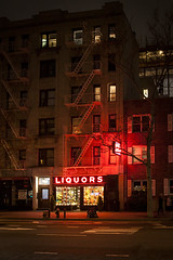 Liquor store (Kieran Culleton) Tags: ny new york night landscape red lights america nyc