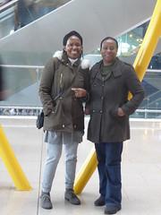 Louise and her friend (seikinsou) Tags: spring kenyatour udp urbandevelopmentprogramme ireland dublin airport sculpture terminal2 arrival yellow immaculate