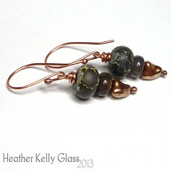 13.05.19_E21_ThunderLizard_02 (Heather Kelly Glass) Tags: brown black green glass dark gold jewellery scales copper earrings lampwork glasspearl wirewrapping czechglass thunderlizard 2013 dragonscales indianagate 52pairchallenge