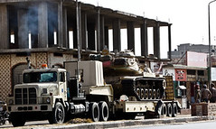 Egyptian tank moves to Rafah border where seven soldiers have been held by an armed group. The incident has escalated tensions between the government and the military. (Pan-African News Wire File Photos) Tags: move egyptian towards tanks sinai