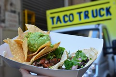 Beef, black bean taco, corn chips and guacamole AUD15 + sign - Taco Truck at Melbourne Central (avlxyz) Tags: food avocado beans beef mexicanfood chips taco guacamole carne blackbeans tortilla streetfood tacotruck