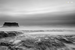 Davenport Beach (universini) Tags: longexposure sunset sea sky bw santacruz seascape slr beach rock canon highway1 slowshutter bayarea canon5d davenport sini mandya universini siddegowda nidagatta