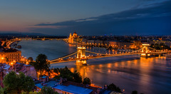 One Night in Budapest (DomiKetu) Tags: bridge blue house reflection water night reflections river lights nikon long exposure hungary suspension budapest trails roofs chain reflected trail le hour parlament danube hdr buda pest vr lnchd szchenyi 18105mm d5100