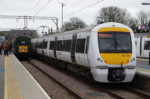 c2c Bombardier Electrostar Class 357 electric multiple unit 357.044 with visiting DEMU 1001 at Shoeburyness
