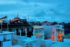 Terrace (mrsunny78) Tags: street city travel sky people tower church lamp clouds canon turkey table eos lights restaurant europe cityscape terrace dusk istanbul mosque chais