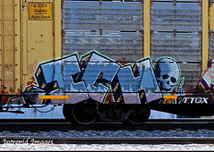 ICH    (close-up) (INTREPID IMAGES) Tags: street railroad streetart color art train bench circle t graffiti fan fry paint steel painted graf tracks rail railway trains tags images 63 yme railcar intrepid writer boxcar graff grab ich railfan freight rolling ichabod itd gr8 paintedtrains fr8 railbox benching paintedsteel railer intrepidimages