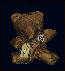 Surprise ! (Shelby's Trail) Tags: birthday bear brown paper wrapped gift surprise ~ tsc hss eightdaysaweek twtme sliderssunday thesundaychallenge