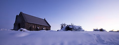 Good Shepard (rubberducky_me) Tags: newzealand panorama lake snow church sunrise wideangle canterbury laketekapo churchofthegoodshepard canon5dmarkii