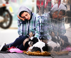 """A beggar woman with her dog (chrisk8800) Tags: barcelona life street city portrait people urban woman dog distortion reflection face lumix photography spain eyes steel candid poor catalonia beggar panasonic g5 beggarwoman """"street photography"""""""