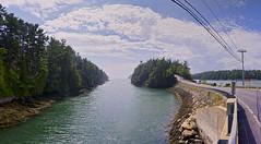 Orr's Island Causeway Panorama1 (Cindy Farr-Weinfeld) Tags: ocean panorama coast cove pano maine panoramic atlantic coastal landsend baileyisland orrsisland nikcolorefexpro mackerelcove niksilverefexpro topazadjust