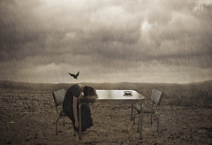 A saved place (katemaldonado) Tags: saved woman storm bird girl field rain clouds dinner table waiting place dream surreal crow conceptual raven katemaldonado