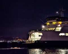 Arrival (stephencurtin) Tags: lighting people color reflection water ferry night lights harbor washington ramp state interior working terminal photograph arrival puyallup artifical thechallengefactory