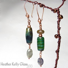 13010.15_E42_Terraforming_01 (Heather Kelly Glass) Tags: glass beads jewellery copper earrings lampwork labradorite wirewrapping terraforming 2013 silverglass indianagate 52pairchallenge