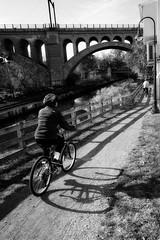 biking the towpath (lucymagoo_images) Tags: sony rx100 philadelphia philly urban city path canal towpath bike bicycle biking shadow bridge manayunk bicyclist bici bw monochrome fence trail shadows lucymagoo lucymagooimages bicicleta ride phila