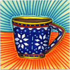 I drew you a wintery pattern mug of coffee (bortwein75) Tags: winter food color colour art coffee illustration pen ink fun flickr drink drawing internet humor beverage mug series oddities highlighters whiteout markers postitnote bortwein
