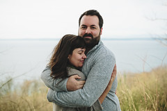 Overlook (Casey Broadwater Photography) Tags: ocean seattle autumn sea portrait love weather sweater hug couple married pacific northwest horizon marriage sound discoverypark
