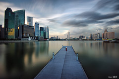 Long Exposure Skyline (kengoh8888) Tags: lighting longexposure blue sky cloud reflection water colors marina landscape bay pentax district central smooth wideangle business cbd sands 1020 mbs k3 simga