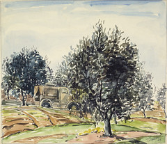 Signal truck, Suani Ben Aden, Tripoli 26 January 1943, Jack Crippen (Archives New Zealand) Tags: newzealand art northafrica wwii archives watercolour commonwealth warart newzealandhistory archivesnewzealand jackcrippen