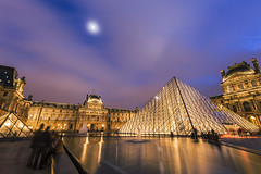 20140123_F0001: The moon and the glass pyramids of the Louvre (wfxue) Tags: street city longexposure travel blue light sky people moon paris france building art tourism water fountain glass museum clouds pond tour pyramid cloudy dusk tourist traveling thelouvre louver