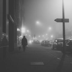 dog|fog. [bw] (angsthase.) Tags: people bw dog cars 6x6 fog night germany square deutschland blackwhite shadows nacht streetlights human nrw schwarzweiss schatten ruhrgebiet dortmund 2014 ruhrpott mft micro43 lumixg20f17 epl5 olympuspenepl5