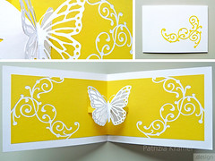 Pop-up | Schmetterling  Butterfly (Patrizia Kramer) Tags: yellow butterfly paper cut karte card papier popupcard