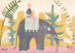 Elephant (Barbara Dziadosz Illustration) Tags: pink blue wild plants elephant green art girl animal yellow lady female illustration design asia ride purple character femme frau elefant mdchen tier characterdesign dziewczyna kobieta ilustracja barbaradziadosz