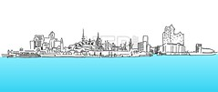 Hamburg Panorama Vector sketch, blue water (Hebstreits) Tags: abstract aster attractions background black bridge building church city contour drawing elbe elphilharmony hamburg hamburger havencity line monument museum panorama port silhouette sketch skyline skyscraper store televisiontower tourism townhall university vector water white