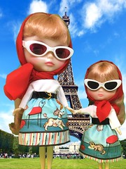 """Please take my hand mon petit.  The traffic is very busy in Paris"" Allegra Champagne and Bubbly Bliss are visiting Paris for Eiffel Tower Day celebrations."