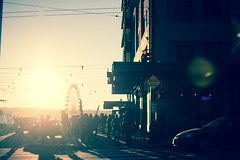 Seattle over a year ago (lydiafairy) Tags: seattle wheel ferriswheel sun sunflare flare diptych sunset