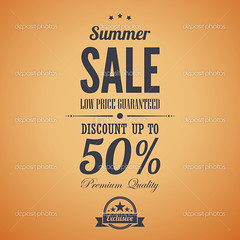 Summer sale poster advertisement. Retro style. Vintage vector design template. Editable. (葉育婷) Tags: sale summer font advertisement salebanner print advertise advert old typography type label lowprice creative retro typographyposter typographicdesign lettering design poster banner vintage style advertising