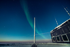 South Pole Aurora (redfurwolf) Tags: southpole antarctica southpolestation aurora auroraaustralis green station sky flag outdoor nature polar antarctic redfurwolf sonyalpha sony a99ii sal1635f28za star stars