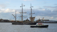 The Barque 'Earl of Pembroke' along side of the Work Boat 'Malamute', Tall Ships Festival, Woolwich Reach, River Thames, London (barry.marsh1944) Tags: barque earl pewmbroke work boat malamute tall ships festivals woolwich reach river thames london