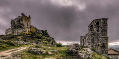 Castle vs Bell tower (Javiralv) Tags: extremadura caceres cáceres españa spain castle castillo campanario bell tower clouds gata sierra