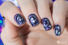 Magnetic galaxies (www.lacqueredobsession.com) Tags: nail art design polish magnetic masura purple glitter galaxy freehand white ilnp holographic
