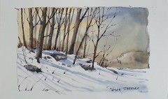 """""""Painting winter trees and shadows"""" Line and Wash Watercolor. New YouTube Video. (Peter Sheeler) Tags: video peter sheelerdraw paint youtube youtubers landscape art original watercolor winsorandnewton watercolour painting paintingaday penandink architecture ink moleskine canada waterbrush arches lamy uniball higgins sunset dusk snow trees winter"""