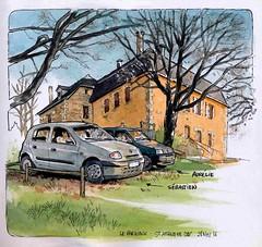 St Amand de Coly Park-ink Vieil Hôpital (Cat Gout) Tags: dordogne saintamanddecoly périgord aquarelle watercolors voiture maison parking
