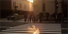 """""""Last Light of the Day"""" Kanazawa, Japan (March 2017) (Kommie) Tags: kanazawa japan road crossing japanese people man girl lady woman kimono sunset sunrays dusk fujifilm xpro2 fujinon 35mm f14 r street candid photography"""