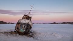 Lost Ship at Lake Baikal (seledam) Tags: baikal lake lost ship fuji fujifilm xt1 1024mm velvia sunset sunrise water ice beach winter frozen